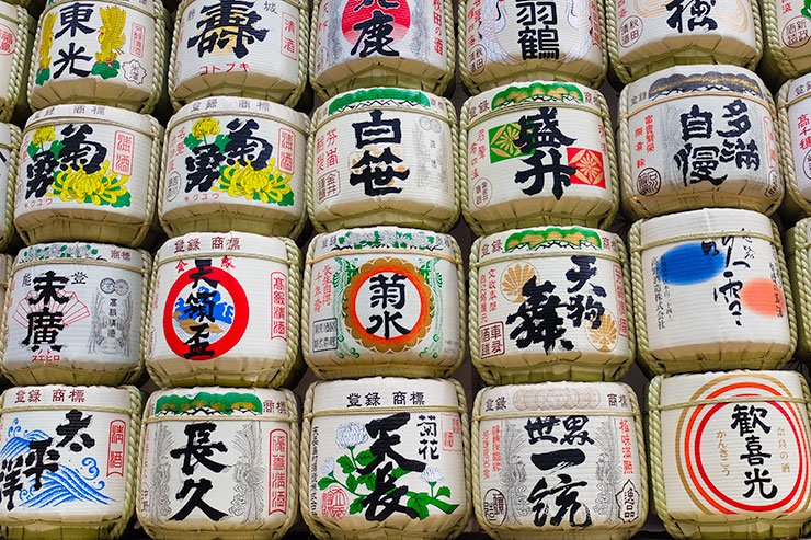 Sake-offerings-Meiji-Shrine