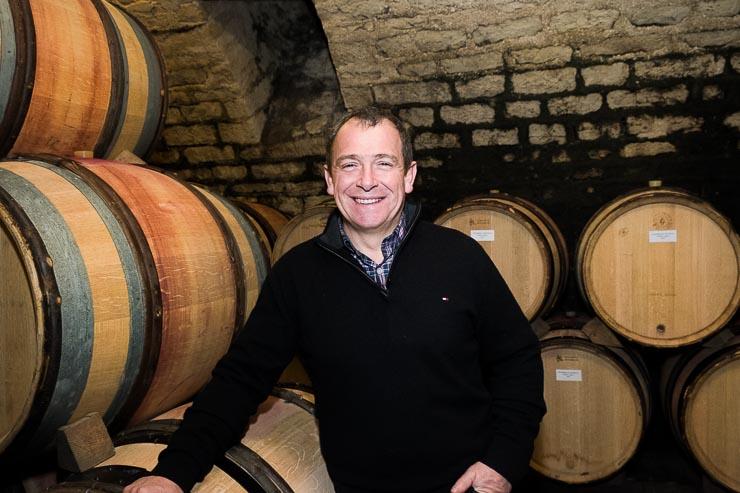 Dominic Le Guen in the cellar of Hudelot Baillet