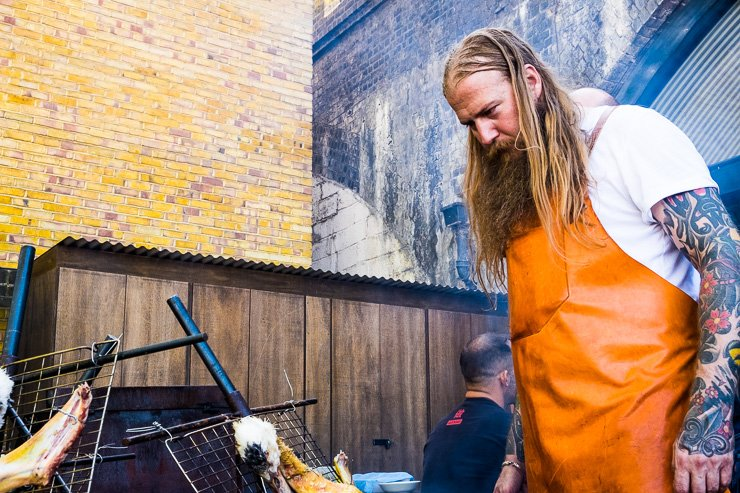 Andrew Clarke of Bastien Restaurant BBQ cooking at Sager& Wilde in Paradise Row
