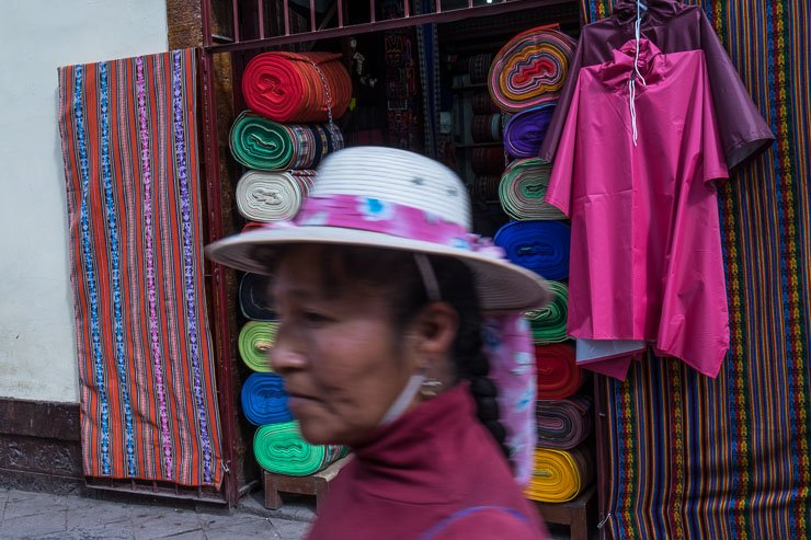 Brightly coloured textiles in Santa Clara street, Cusco, Peru