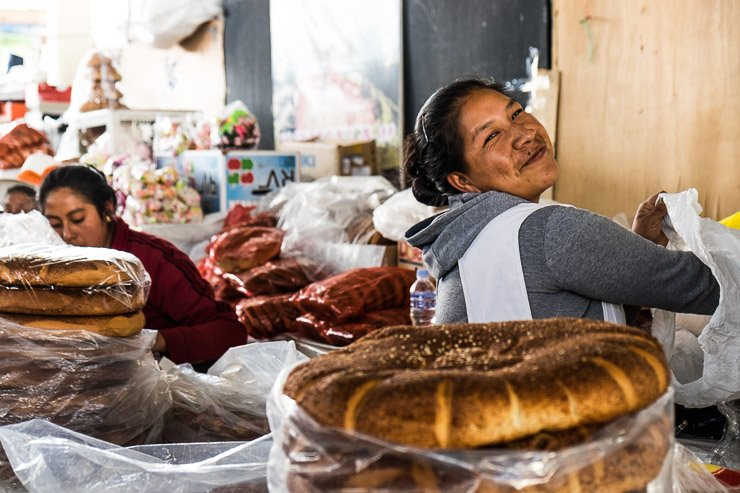 Bread sellers at San Pedro Market, Cusco, Peru