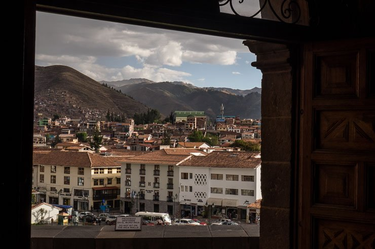 View of Cusco and surrounding mountains from Church of San Domingo