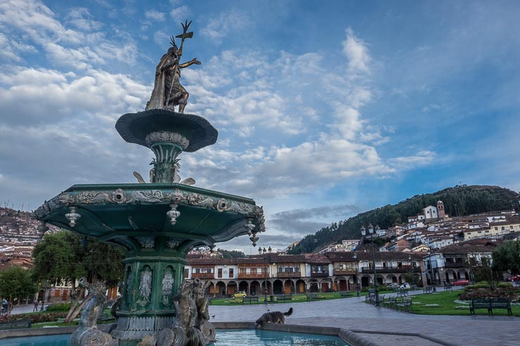 Incan ruler Pachacuti overlooks Plaza de las Armas in Cusco