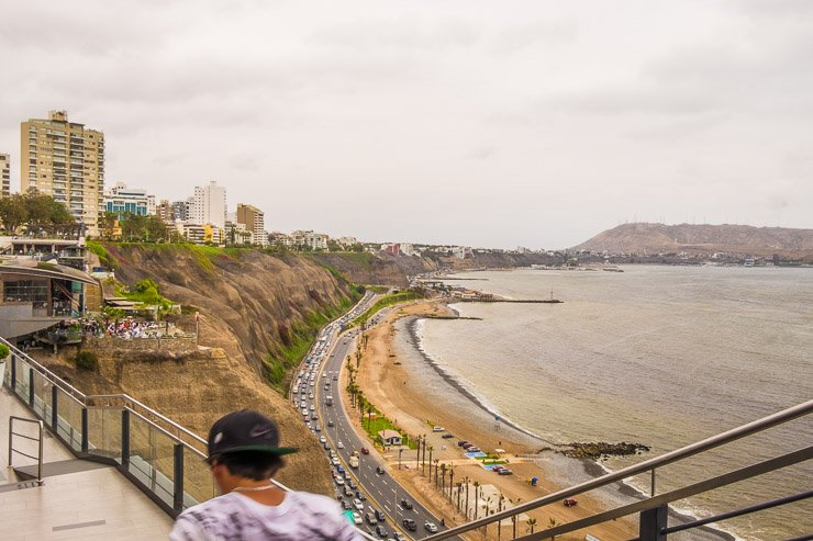 View towards Barranco from Larcomar shopping centre in Miraflores, Lima