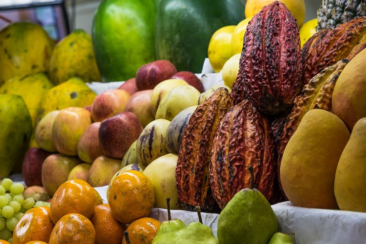 Cacao pods among the fruit in Lima's Central Market