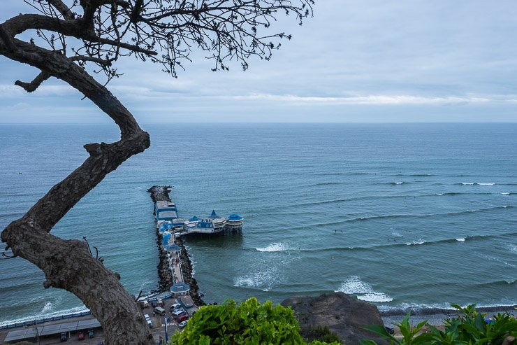 View of the Pacific and of Rosa Nautica restaurant, Miraflores, Lima