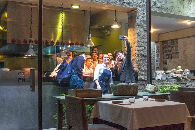 Zaiyu Hasegawa, chef of Den in Tokyo, taking a selfie with the team at Central Restaurant, Lima