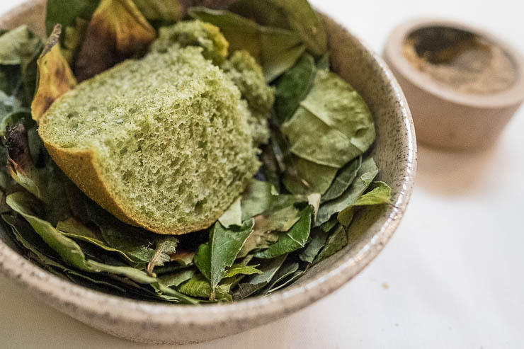 Bread made from coca leaves, Alturas Master tasting menu, Central Restaurant, Lima