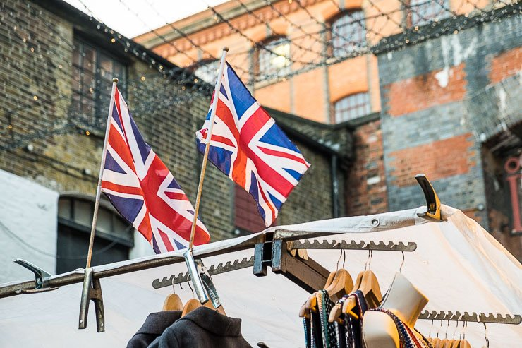 Union Jacks at Camden Lock Market, London