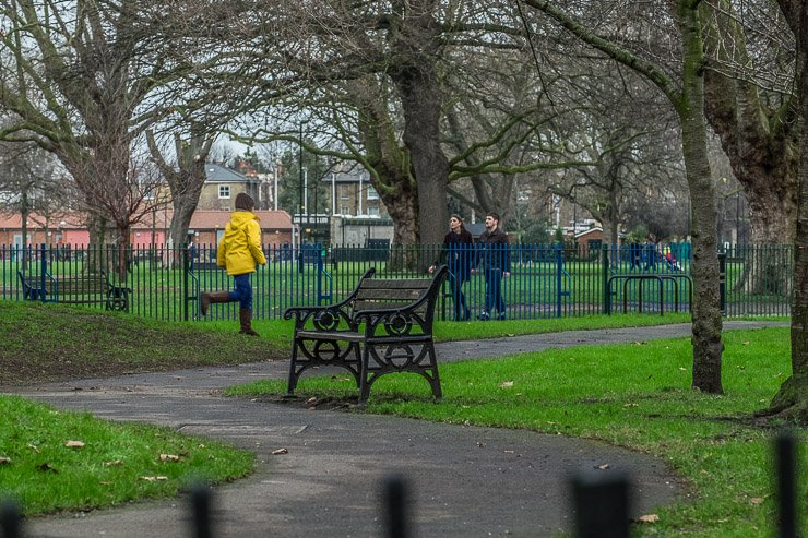 View of London Fields with bench
