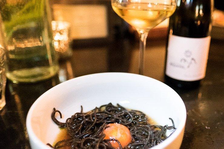 Black Lentil Noodles, Egg Yoke, Vegetable Bouillon