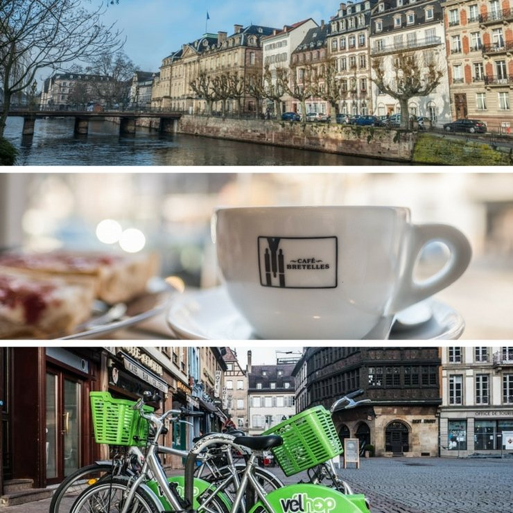 Strasbourg old quarter on river, cup of coffee at Cafe Bretelles, bicycles for hire