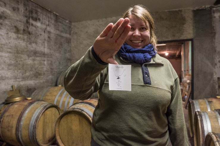 Catherine Riss holding up new label of Shieferberg