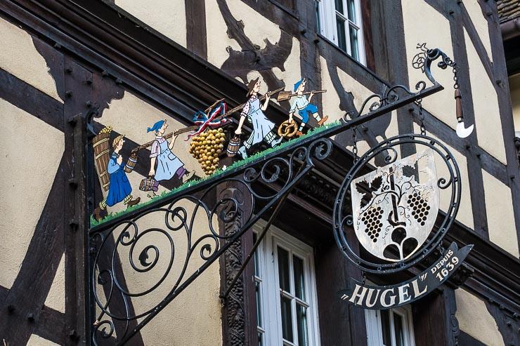 Sign for Famille Hugel in Riquewihr
