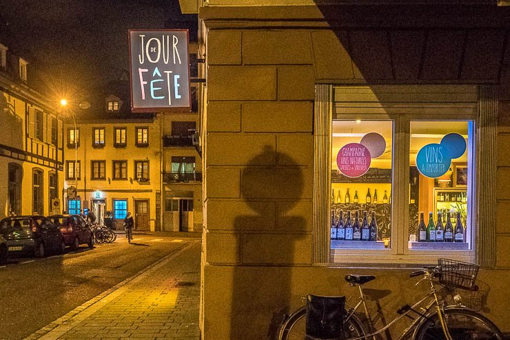 Exterior at night of Jour de Fete Restaurant & Wine Bar, Strasbourg