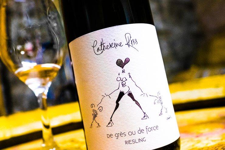 Label of De Gres ou De Force Riesling Catherine Riss