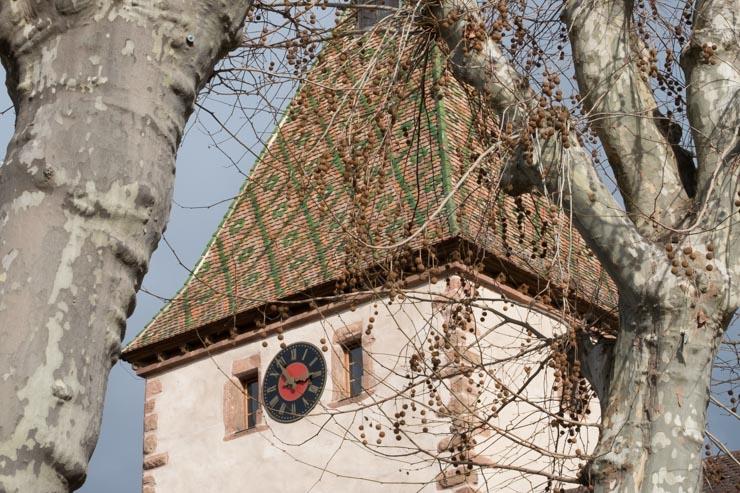 Clock of the Porte Haute, Bergheim, Alsace