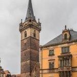 City centre with clock tower, Obernai, Alsace