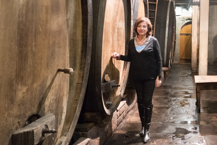 Catherine Faller, Domaine Weinbach in the cave