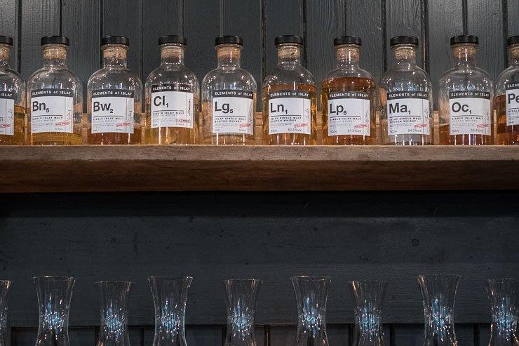 Row of whisky bottles, Timberyard, Edinburgh