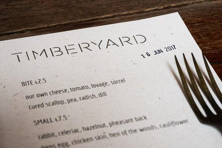 Menu, Timberyard, Edinburgh