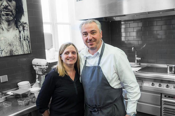 Nathalie & Stephane Rossillon in the kitchen, Les Avises, Champagne