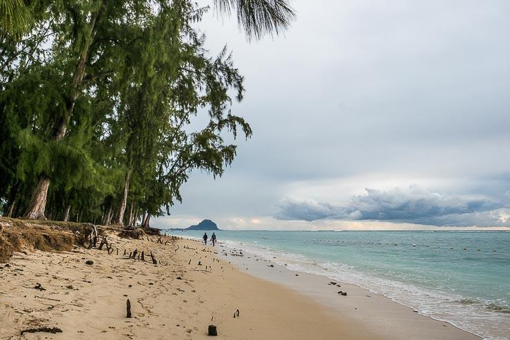 Sandy beach at Flic-en-Flac, Mauritius, looking towards Le Morne
