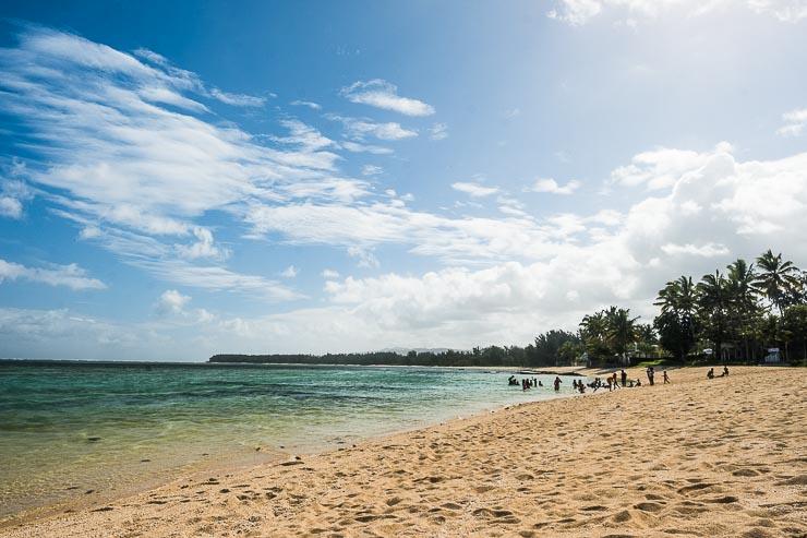 Children at the beach between Surinam and Riambel, Savanne district, Mauritius