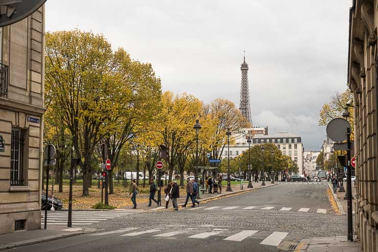 View towards the Eiffel Tower from Rue Saint-Dominique at the corner with Rue de Constantine in autumn