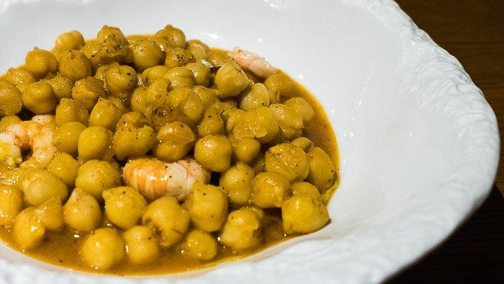 Chickpeas with prawns, Estimar, Barcelona