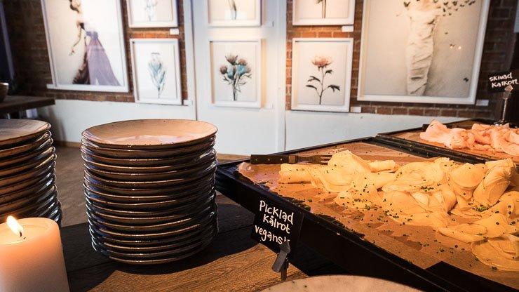 Plates & tray of pickled swede, Fotografiska, Sweden