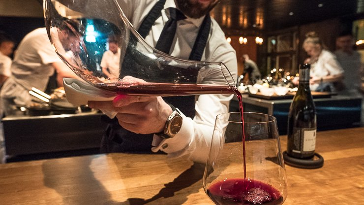 Pouring from a carafe, tomato, cherry & Arabica bean juice, Frantzen