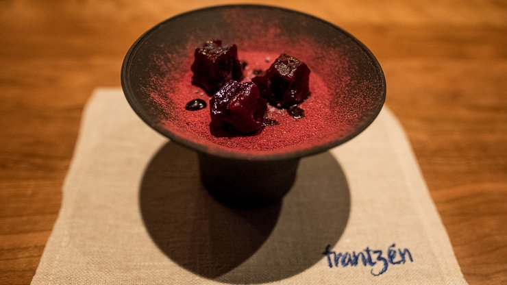 Bowl of Salt Baked Chewy Beetroot, whipped liquorice, griottes cherries & aged violet vinegar.