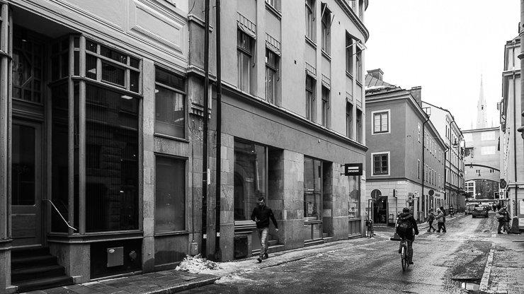 Entrance to Frantzén, on the far left, at No 26, Klara Norra kyrkogata, Stockholm