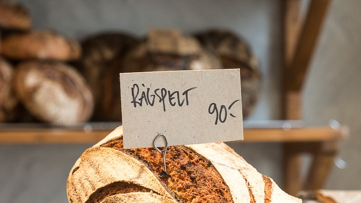 Loaf of bread with sign at Green Rabbit Bakery, Stockholm