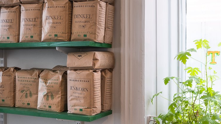 Bags of flour on a shelf by the window, Green Rabbit, Stockholm