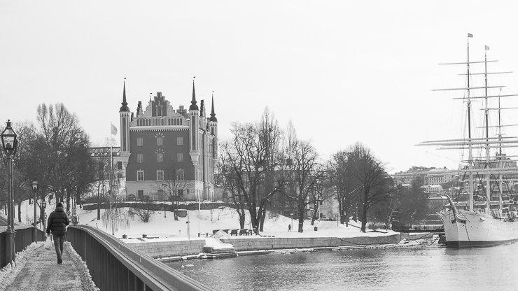 Black & white view towards Skeppsholmen, Stockholm