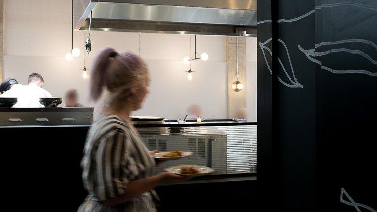 Waitress passing, Interior, Cornerstone