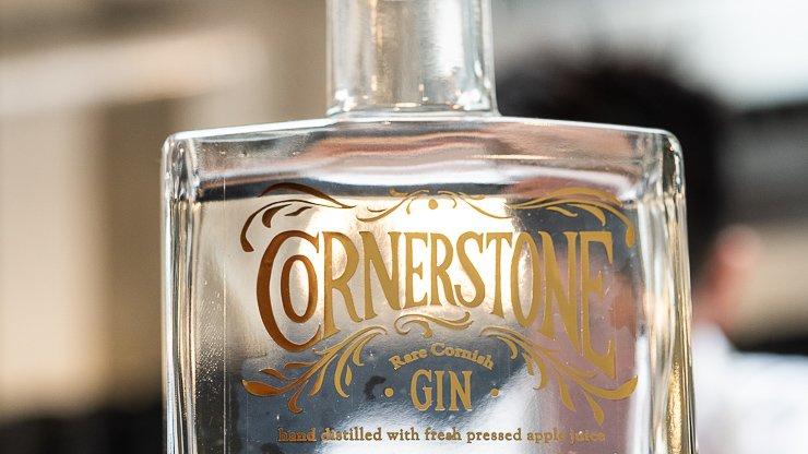Part of bottle of Cornerstone Gin