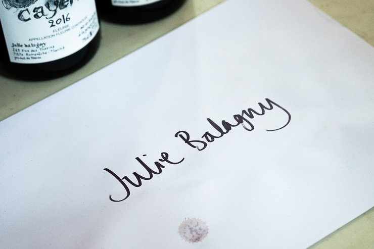 Written name of Julie Balagny at the Spring Tasting in London