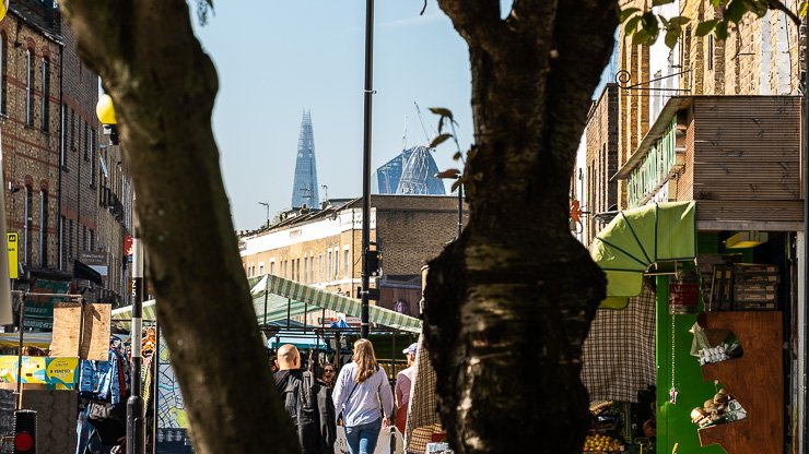 Broadway Market, London, with Shard in background