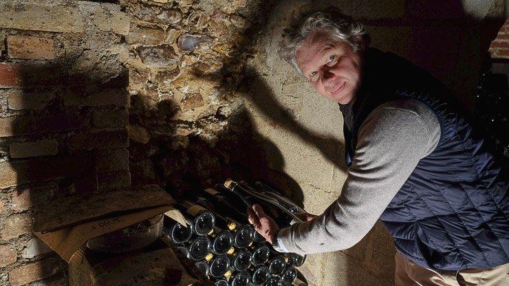 David Leclapart in his cellar in Champagne