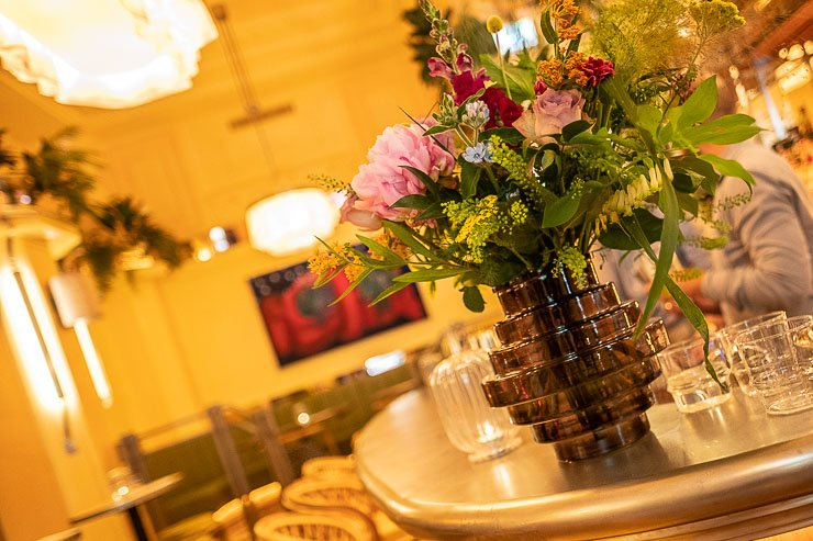 Flower vase, bar at Neptune Restaurant, London