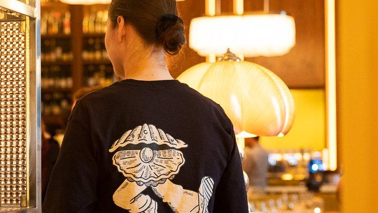 Back of logo t-shirt, Neptune Restaurant, London
