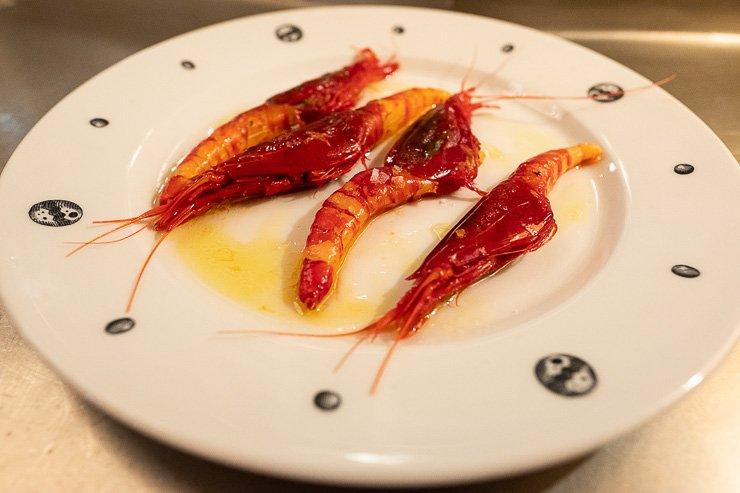 Camaron rojo, saffron & orange oil, Neptune Restaurant, London