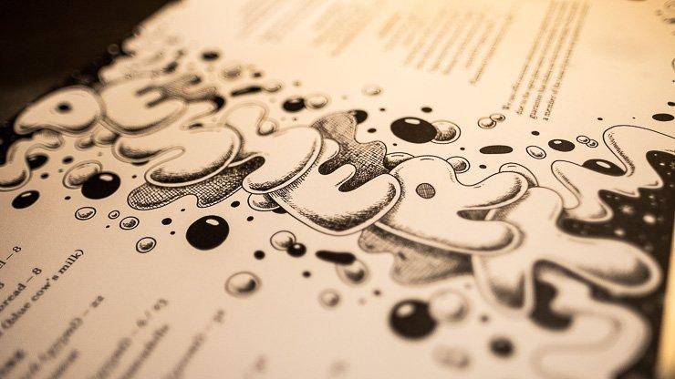 Close up, dessert menu, Neptune Restaurant, London