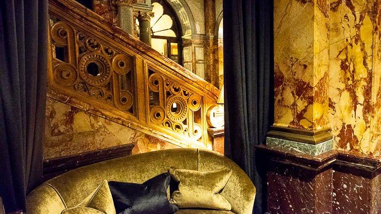 Staircase & velvet sofa, The Principal Hotel, London