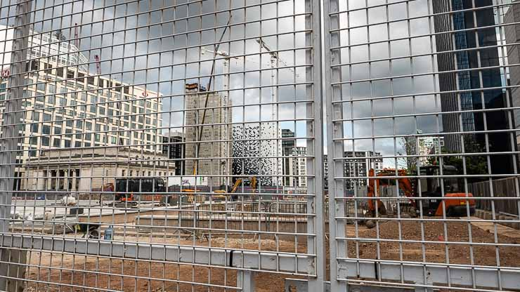 View through grill of building works for the Paradise development, Birmingham
