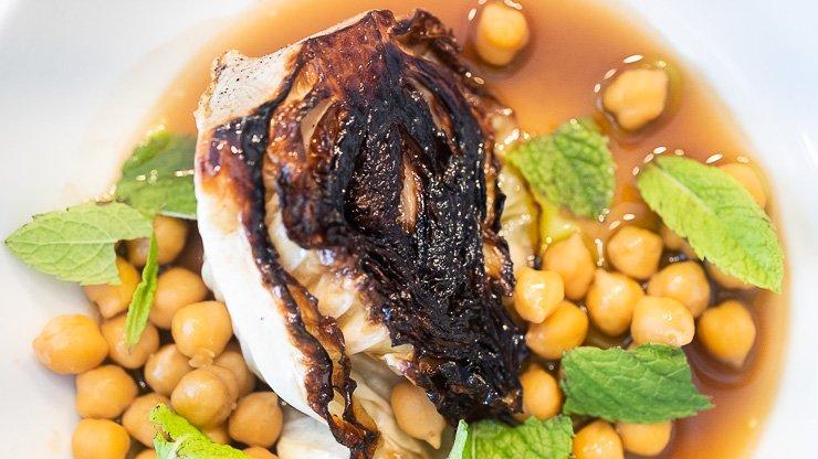 Chickpeas, hispi cabbage, mint, Silo Restaurant, Brighton