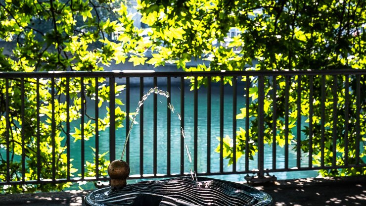 Water fountain by River Limmat, Zurich